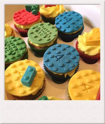 Lego cup cakes made by All Things Cake Epsom