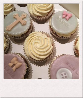 Christening cup cakes made by All Things Cake Epsom