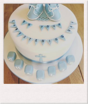 Beautfiful Christening Celebration Cake - All Things Cake - Cake Baker Epsom polaroid